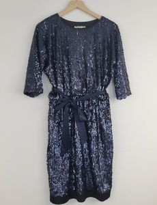 Eliza J sequences blue shiny dress long sleeve